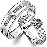 GirlZ! Platinum plated Romantic Multiple Hearts Cross couple rings (2 pieces -for Men and Women)