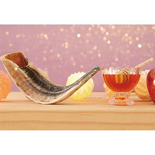 Laeacco Jewish Holiday Backdrop 5x3ft Rosh Hashanah Photography Background Bokeh Halos Shofar Honey Apple Wooden Table New Year Celebrate Food Judaism Religion Festival Photo Prop Studio Wallpaper