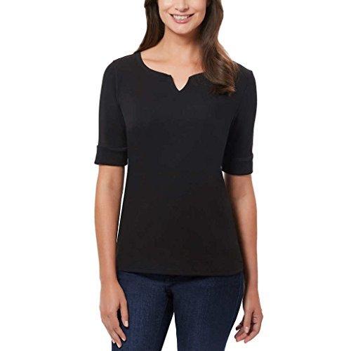 Ellen Tracy Women's Pima Cotton/Lycra V-Neck Cuff Sleeves T-Shirt (L, Black) from Ellen Tracy