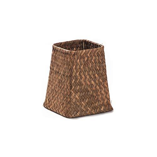 Handmade Bamboo Storage Baskets Foldable Laundry Straw Patchwork Wicker Rattan Seagrass Belly Garden Flower Pot Planter Basket,Khaki