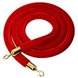YaeTool Velvet Stanchion Rope 8Ft Stanchion Queue Barrier Rope Velvet Rope Crowd Control Rope Barrier (Red)