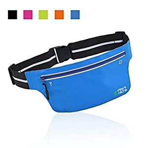 Fitter's Niche UltraSlim Fitness Sport Running Belt Fanny Pack, Water Resistant, 360 Degree 3M Reflective Adjustable Waistband, for Smartphone Android iPhone up to 6 inches, Fluorescent Blue