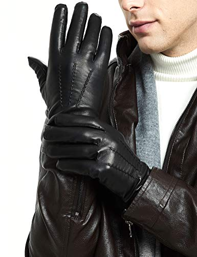 Leather Gloves for Men - Deluxe Sheep and Deer Skin Leather Men's Gloves Lined ()