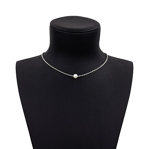 Geerier Dainty Imitation Pearls Choker Necklace Sliver Tone Chain