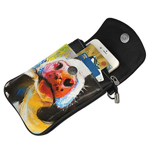 Hdadwy mobiltelefon crossbody väska målning modern konst färgglada djur ko kvinnor PU-läder mode handväska med justerbar rem