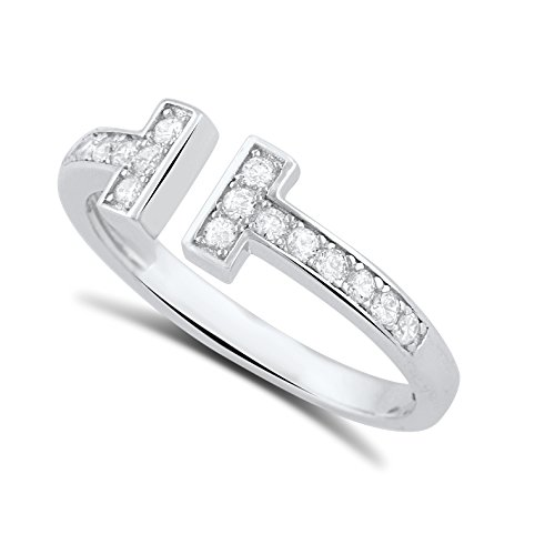 Sterling Silver Cz Open Double Bar Ring - Size - Tiffany Square Ring