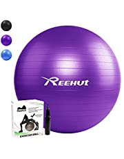 REEHUT Exercise Ball 55cm 65cm 75cm Anti-Burst Core with Pump & Manual for Yoga, Balance, Workout, Fitness