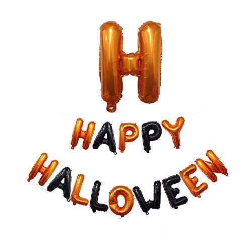 Yoyorule Happy Halloween Party Flag Household Children Room Decoration16 inch Letter Aluminum Film Balloon Happy Letter Combination ()