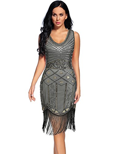 1920 Dresses for Women V Neck Sparkly Sequin Flapper Great Gatsby Fringed Cocktail Dress (Grey, S) -