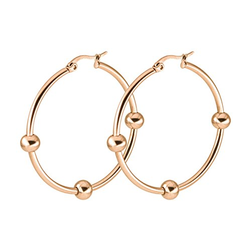 Anazoz Womens Earrings, Stainless Steel Women Fashion Hoop Earring with Ball Rose Gold ()