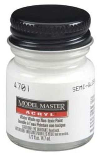 Semi-gloss White Testors Acrylic Plastic Model Paint (Model Master Gloss)