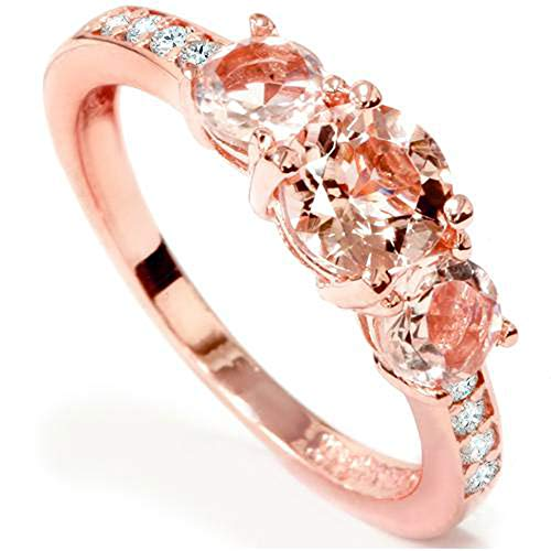 - 1ct Morganite & Diamond 3-Stone Ring 10k Rose Gold - Size 7