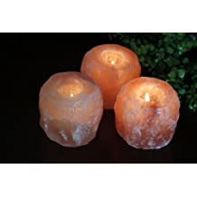 Himalayan Glow 3002B Natural Himalayan Pink Salt Candle Holder, 3.5 Inches Height (3.3 KG), Home Décor, Natural Style Himalayan Pink Salt Rock 1 Hole Tealight Candle Holder, 3 Packs