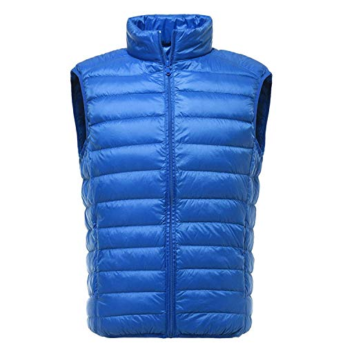 90% Ultralight White Duck Down Vest Casual Jacket Men Autumn Winter Windproof,Blue,XL