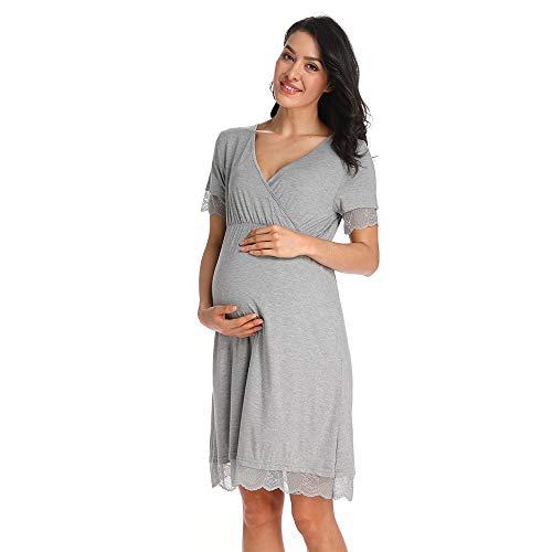 Ritera Maternity Nursing Nightgown Women Nightdress Breastfeeding Pregnancy Gown Sleepwear Grey