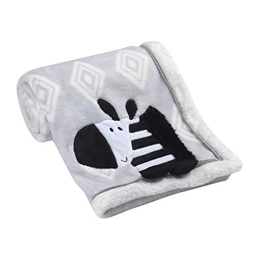 Lambs & Ivy Appliqued Blanket - Zebra - Gray, White, Animals, Safari, Modern (Gray Zebra)