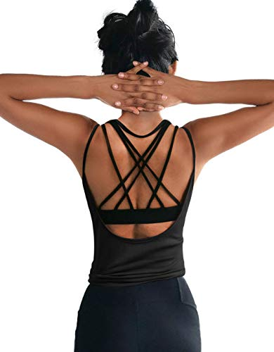 DIBAOLONG Womens Summer Workout Tops Sexy Open Back Backless Yoga Shirts Activewear Workout Clothes Running Sports Gym Fitness Quick Dry Loose Cute Sleeveless Tank Tops Black M