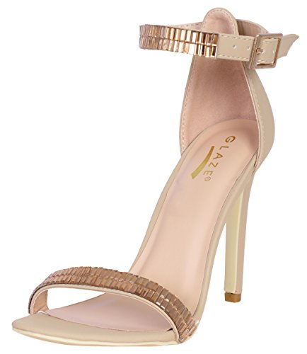 7' High Heels Peep Toe (Glaze Women\'s Jewel Plated Dress Evening Sandals, Nude Nubuck, Size 7')
