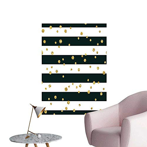 Gold and White Wall Mural Wallpaper Stickers Horizontal Bold Lines and Stripes with Polka Dots Circles Image Rental House Wall Charcoal Grey Yellow W20 x H28