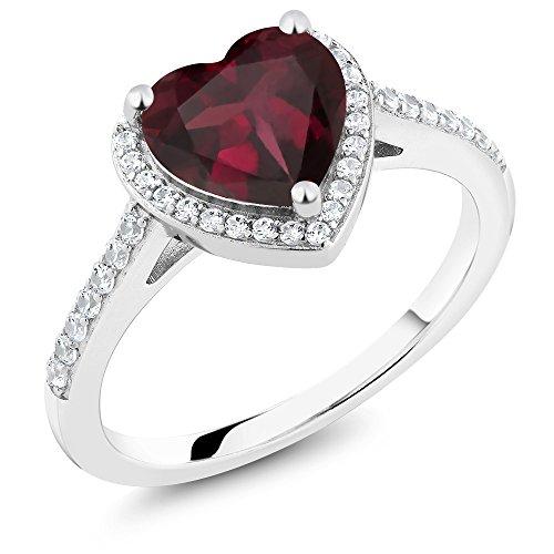 Gem Stone King 2.21 Ct Heart Shape Red Rhodolite Garnet 925 Sterling Silver Engagement Ring (Size 7)