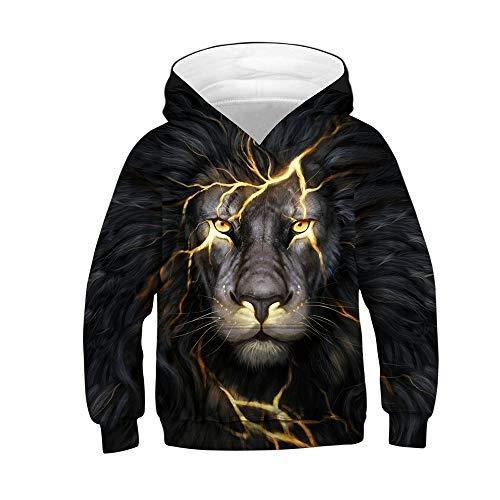 God Sweet Boys 3D Lion Leo Hoodies Hooded Sports Sweatshirt Black)