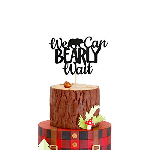 HEETON Lumberjack Baby Shower Cake Topper We Can Bearly Wait Bear Rustic Hunter Theme Woodland Baby Shower Party Supplies Decorations