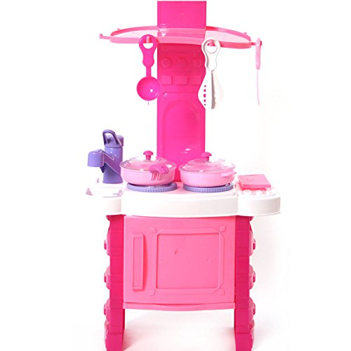 Kitchen Cooking Role Pretend Play Toy Cooker Set (Pink) - 4