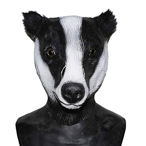 COMLZD Deluxe Halloween Badger Latex Mask, Animal Head Mask Party Costumes Cosplay Masks -