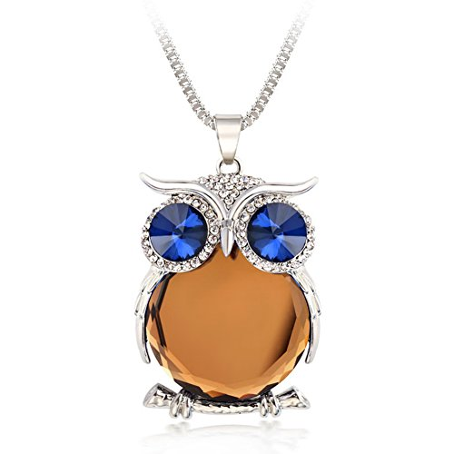 "The Night Guardians Long Sweater Chain Owl Shape Austrian Crystal Pendant Necklace for Woman ""31"""