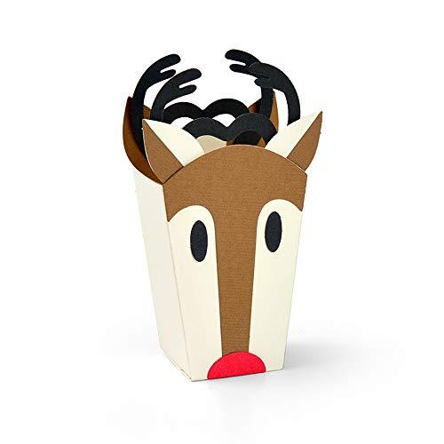 Reindeer Die - Sizzix 663609 Reindeer Bag by Jordan Caderao Dies, Multicolor