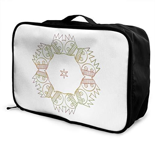 Boognish Mandala Lightweight Large Capacity Portable Luggage Bag Fashion Travel Duffel Bag