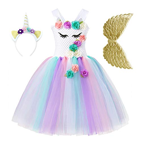 Unicorn Tutu Dress for Girls 3D Flower Princess Party Costume with Headband and Wings Gold ()