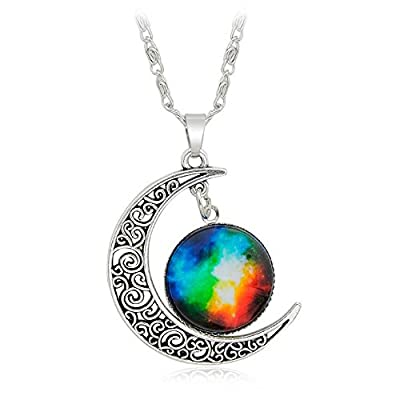 Galaxy & Crescent Cosmic Colorful Pendant Necklace, Blue Glass, 17.5'' Chain, Great Gift for Women