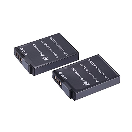 Powerextra 2 Pack Replacement Battery for Nikon EN-EL12 and Nikon Coolpix AW100, AW110, P300, S630, S640, S6000, S6100, S6150, S6200, S6300, S8000, S8100, S8200, S9050, S9100, S9200, S9300, S9500