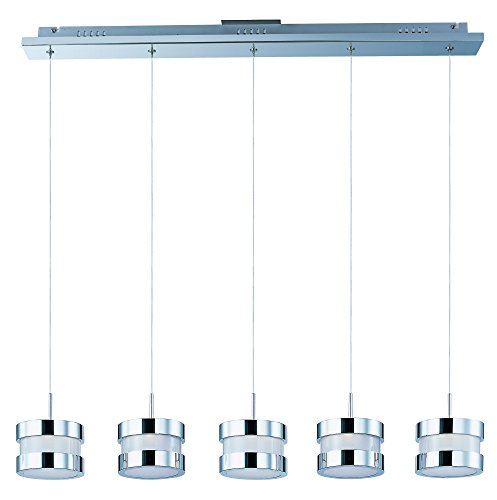 ET2 E22685-01PC Disco 5-Light LED Linear Pendant, Polished Chrome Finish, White Glass, PCB LED Bulb, .12W Max., Dry Safety Rated, 3000K Color Temp., Low-Voltage Electronic Dimmer, Glass Shade Material, 785 Rated Lumens by ET2 Lighting (Image #2)