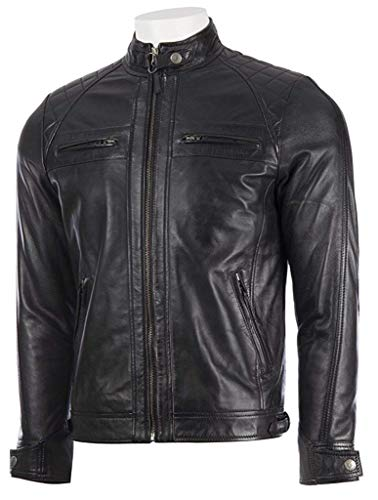 Absolute Leather Men's Savio Black Classic Genuine Lambskin Leather Jacket XL Black (Jackets Leather Designer Mens)