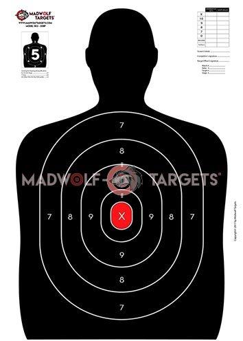 Siluetas tiro policial puntuación. (84, 1 x 59, 4cm ) - (Pack 20 siluetas) Madwolf Targets