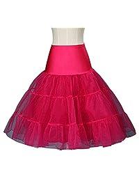 Drasawee Women 2 Layers Ballet Skirt Crinoline Petticoat Tutu Dress Underskirt Rosy Red S