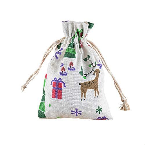 Lyanther 10PCS sacco di iuta piccolo semplice della borsa morbida in lino naturale Natale modello Jewery bag wedding favor