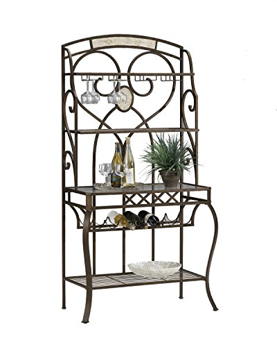 Hillsdale Brookside Baker's Rack, Brown with Fossil Stone 4 Shelf Glass Bakers Rack