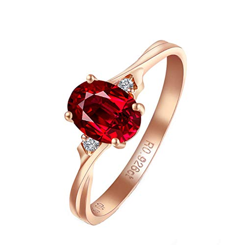 KnSam Ring for Women Fashion Fine Ruby0.9ct Red Diamond, Rose Gold 18 Carats Wedding Rings for Women Ruby 0.9ct Size 9
