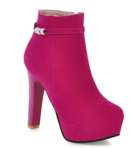 34 Short Ladies 38 Boots rose Martin Shoes Waterproof Boots heeled Winter High Size Platform Round Autumn Ov4qW56wx