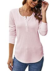 Famulily Womens Henley Shirt Cozy Ribbed Knit Slim Blouse Button Up Causal Long Sleeve Thermal Top