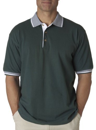 - UltraClub mens Color-Body Classic Pique Polo with Contrast Multi-Stripe Trim(8537)-FOREST GRN/ WHT-L