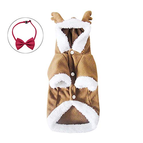 Wow4pets Pet Clothes Christmas Dog Cute Elk Cosplay Costumes for Autumn & Winter (Coffee Two-Leg, XS)
