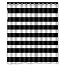 "Black and White Stripe Background Waterproof Shower Curtain/Bath Curtain--Size: 60"" x 72"""