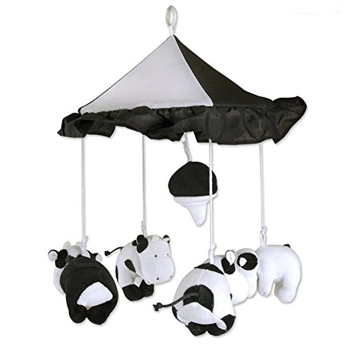 Baby Crib Mobiles Milk Cow Nursery Ceiling Developmental Toy Decorations Heart Garland for Kids Room White and Black