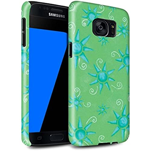STUFF4 Gloss Tough Shock Proof Phone Case for Samsung Galaxy S7/G930 / Green/Blue Design / Sun/Sunshine Pattern Sales