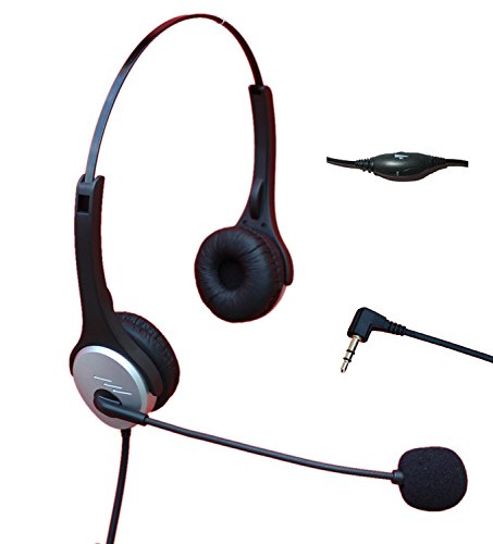 Voistek A2H20D25MM Dual Ear Call Center Telephone Headphone with Noise Canceling Microphone + Volume Mute Controls for Cisco Linksys SPA Polycom Grandstream Panasonic Zultys & Gigaset Office IP & Many Cordless Dect Phones with Standard 2.5mm Headset Jack (Panasonic Cordless Phone Headset compare prices)