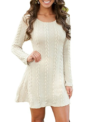ETCYY Women's Long Sleeve Knitted Crewneck Sweater Pullover Dress